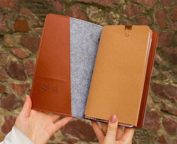 Brown Ecoleather Travelers Notebook Reffilable Notepad Daily Organizer Christmas