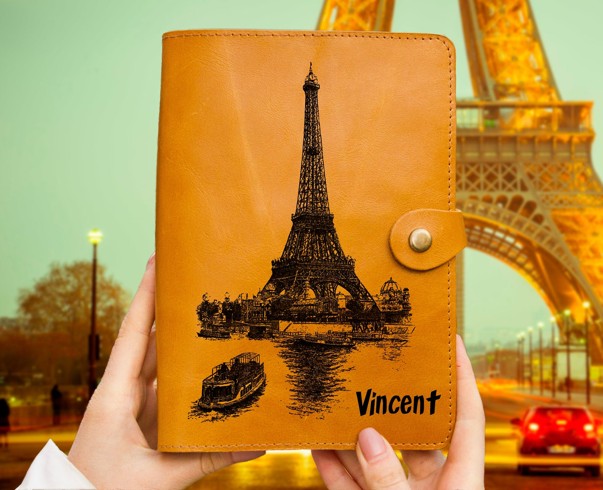 Personalized Paris Travelers Gift Engraved Leather Journal Organizer Leather Sketchbook Ochre A5 Size Italian Leather Notebook