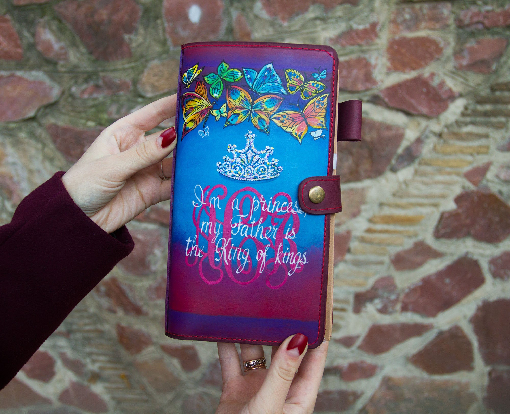 Personalized Leather Christ Journal I Am a Princess My Father Is King of Kings Bible Bullet Journal Travelers Notebook  Hand Painted