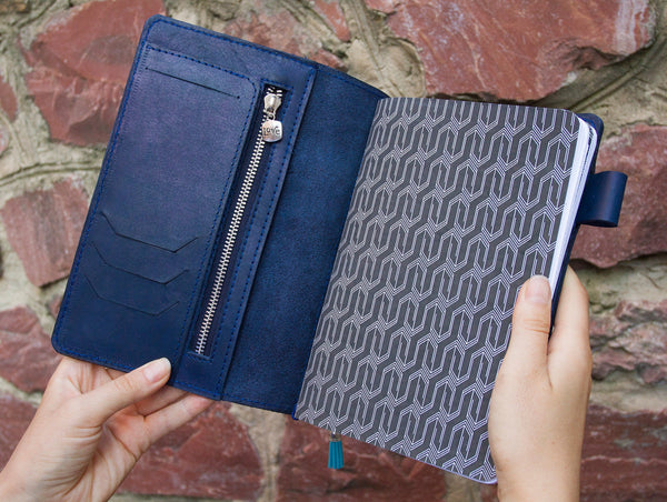 Customized Bullet Journal Book Reader Gift Daily Planner Navy Blue Leather Journal Travelers Notebook with Pen Loop Pockets