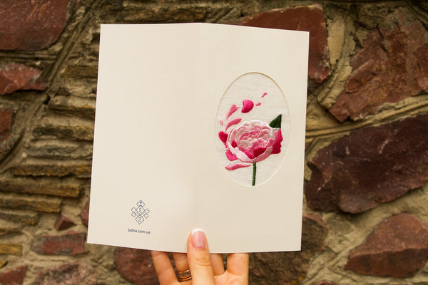 Crafted Gift Postcard With Linen Rose Wedding Love Gift Leaflet Sanatifactory
