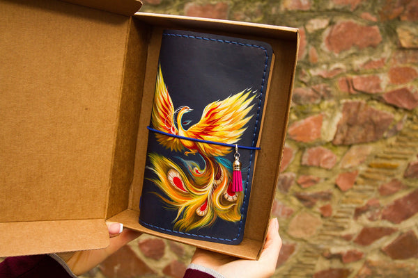 Phoenix Firebird Travelers Notebook Leather Bird Journal Hand Painted Natural Leather Regular Size Notebook 3 Inserts 192 Pages