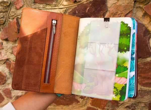 Personalized Leather Journal A5 Size Four Elements Hand Painted by Artist Travelers Notebook with Four Inserts and Zippered PVC Pouch