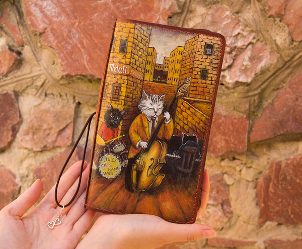 Bullet Journal Cat Lover Gift Personalized Daily Planner Brown Leather Journal Regular Size Cats Travelers Notebook Pockets Inserts Refills
