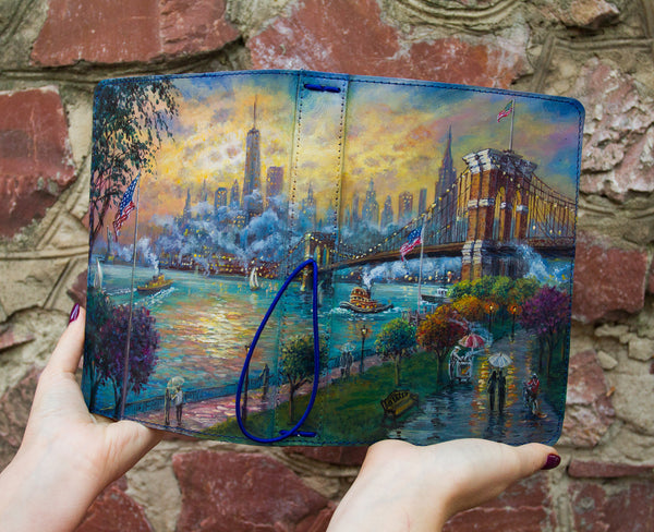 Brooklyn Bridge New York Double Sided Hand Painted Leather Journal