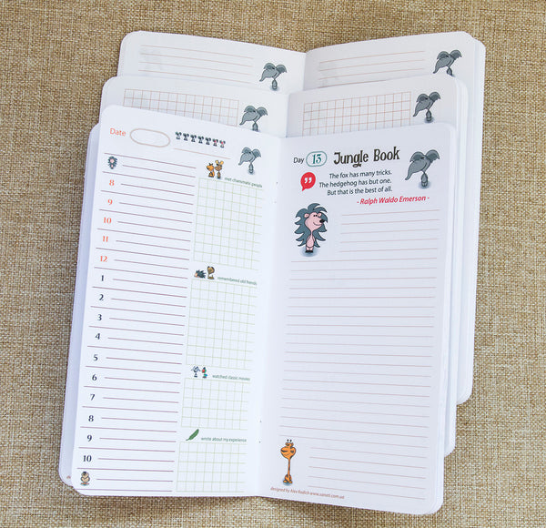 Jungle Book Animals My  Travelers Notepad Three Exclusive Inserts with Daily Notes and Planner