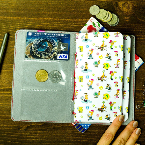 Finance Planner  Travelers Notebook Personal Size MTN Illustrated Fauxdori Journal with 3 Refills Ecoleather