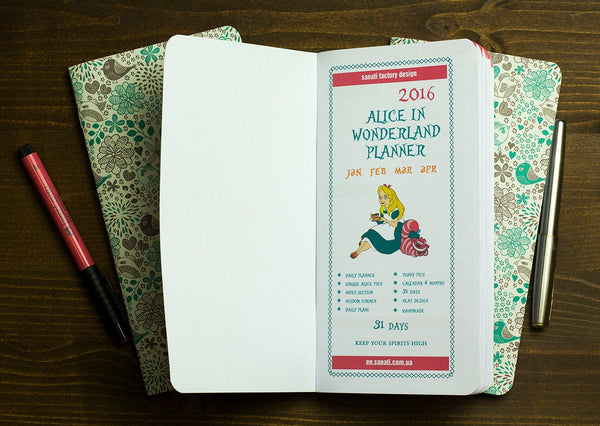 Alice in Wonderland Colored Refills  Travelers Notebook Fauxdori Standard Size Inserts Gift Superior Extra White Paper