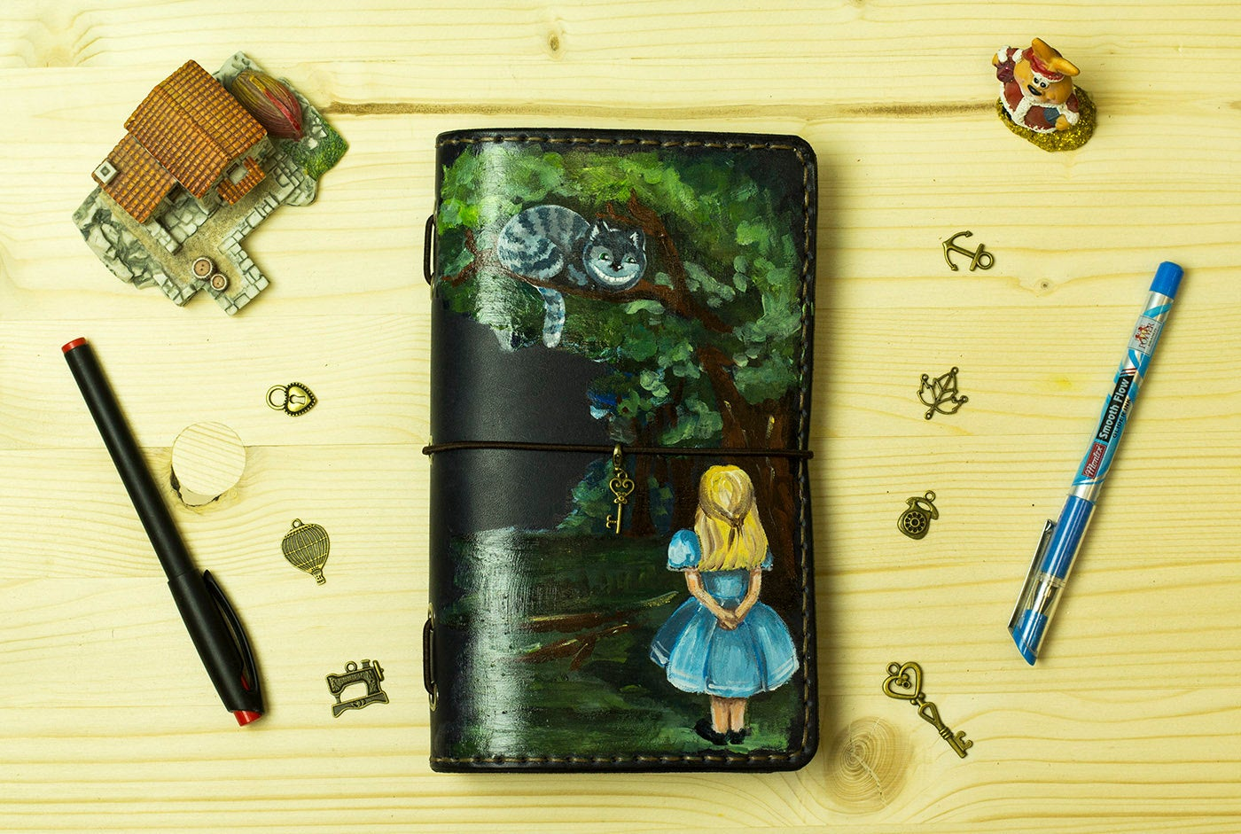 Alice in Wonderland Hand Painted by Artist  Leather Cover for Standard Size  Custom Travelers Notebook Fauxdori Planner Hand Stitched