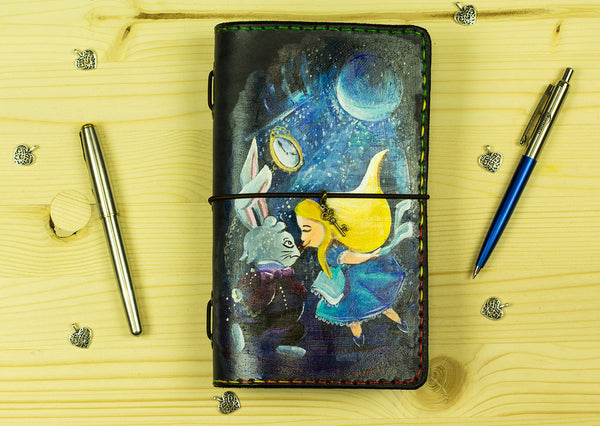 Custom Travelers Notebook Leather Journal Alice Hand Painted by Artist Cover Standard Size  Travelers Notebook Planner Hand Stitched