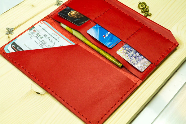 Red Leather Travel Case Boarding Pass Wallet Nomad Style Passport Case Travel Organizer Ticket Holder Wallet Handmade with Pen Loop