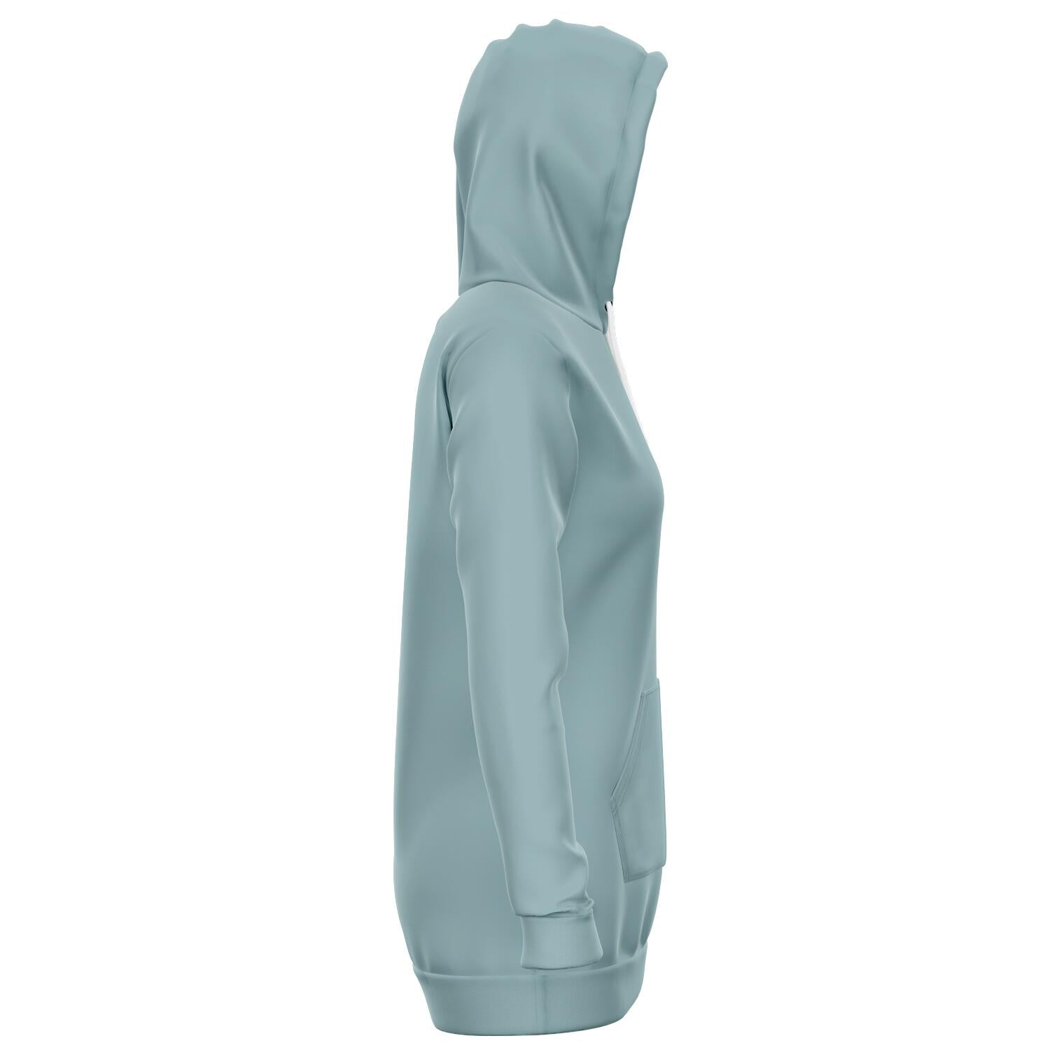 Duck Egg Blue Longline Athletic Fitted Hoodie