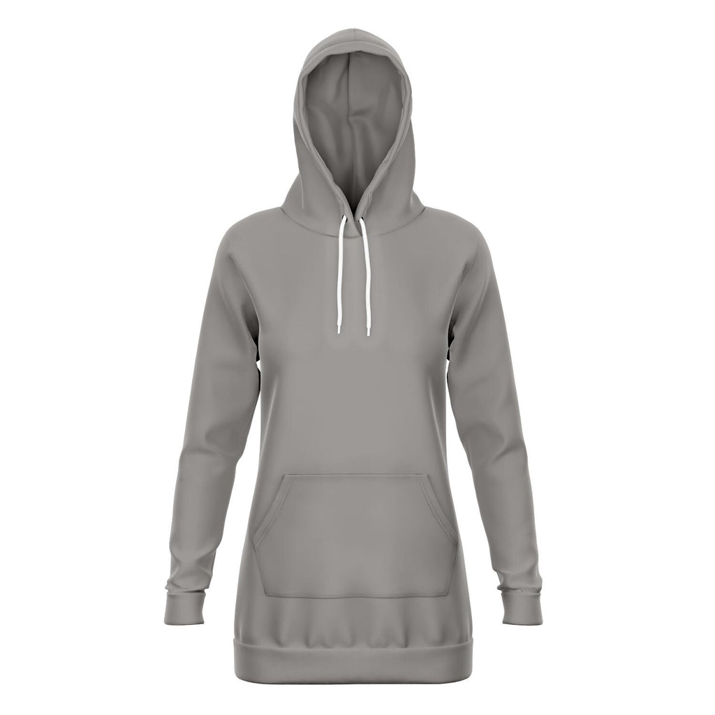 Taupe Longline Athletic Fitted Hoodie