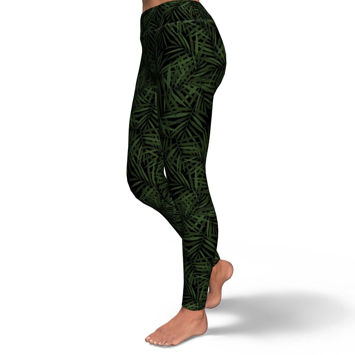 Palm Leaf Print Yoga Pants
