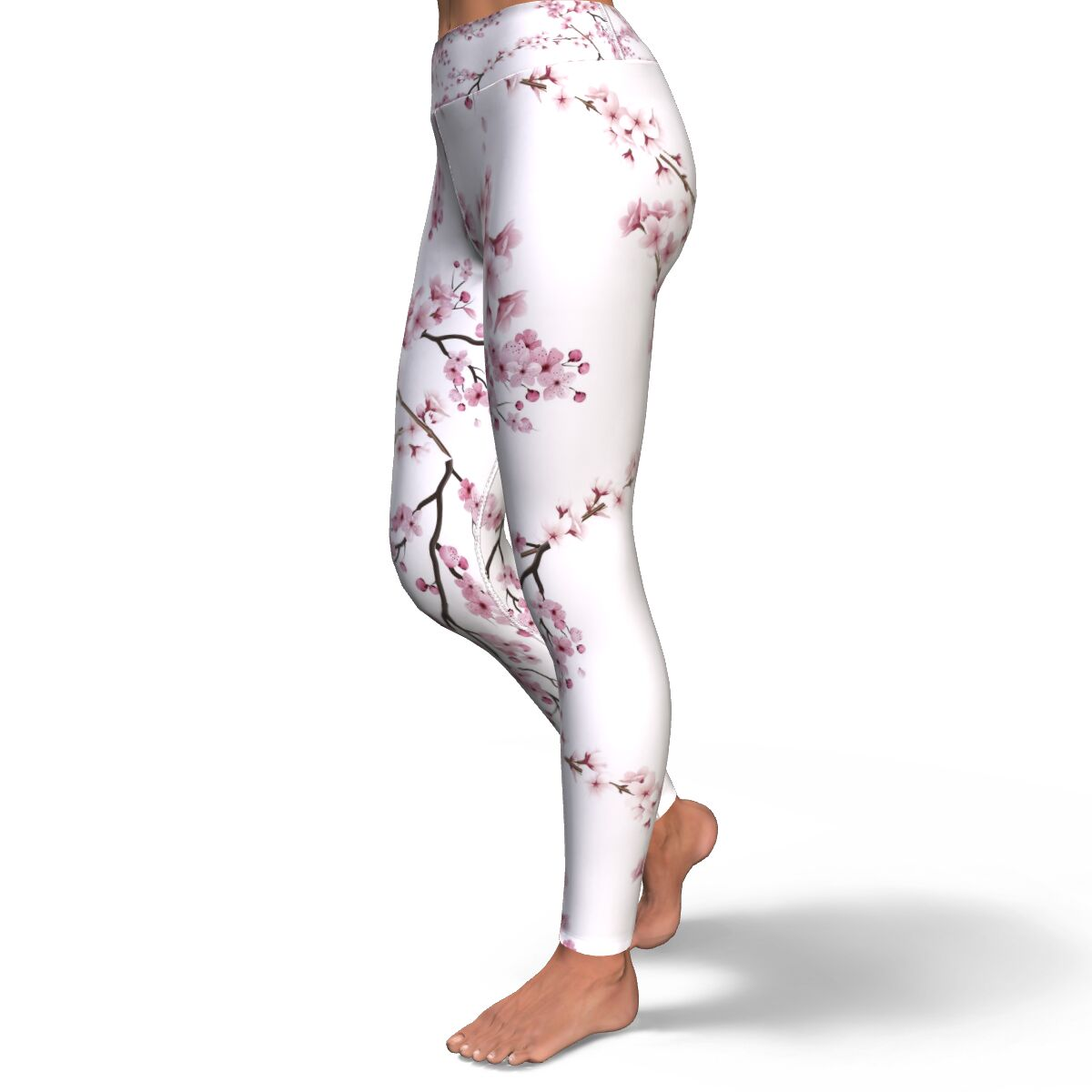 Cherry Blossom Yoga Pants in White