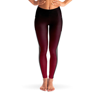 Black to Red Ombre Mesh Panel Leggings
