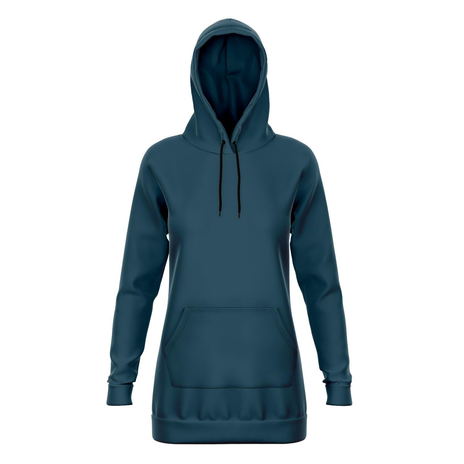 Teal Longline Athletic Fitted Hoodie