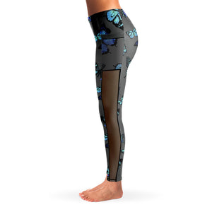 Butterfly Print Mesh Panel Leggings
