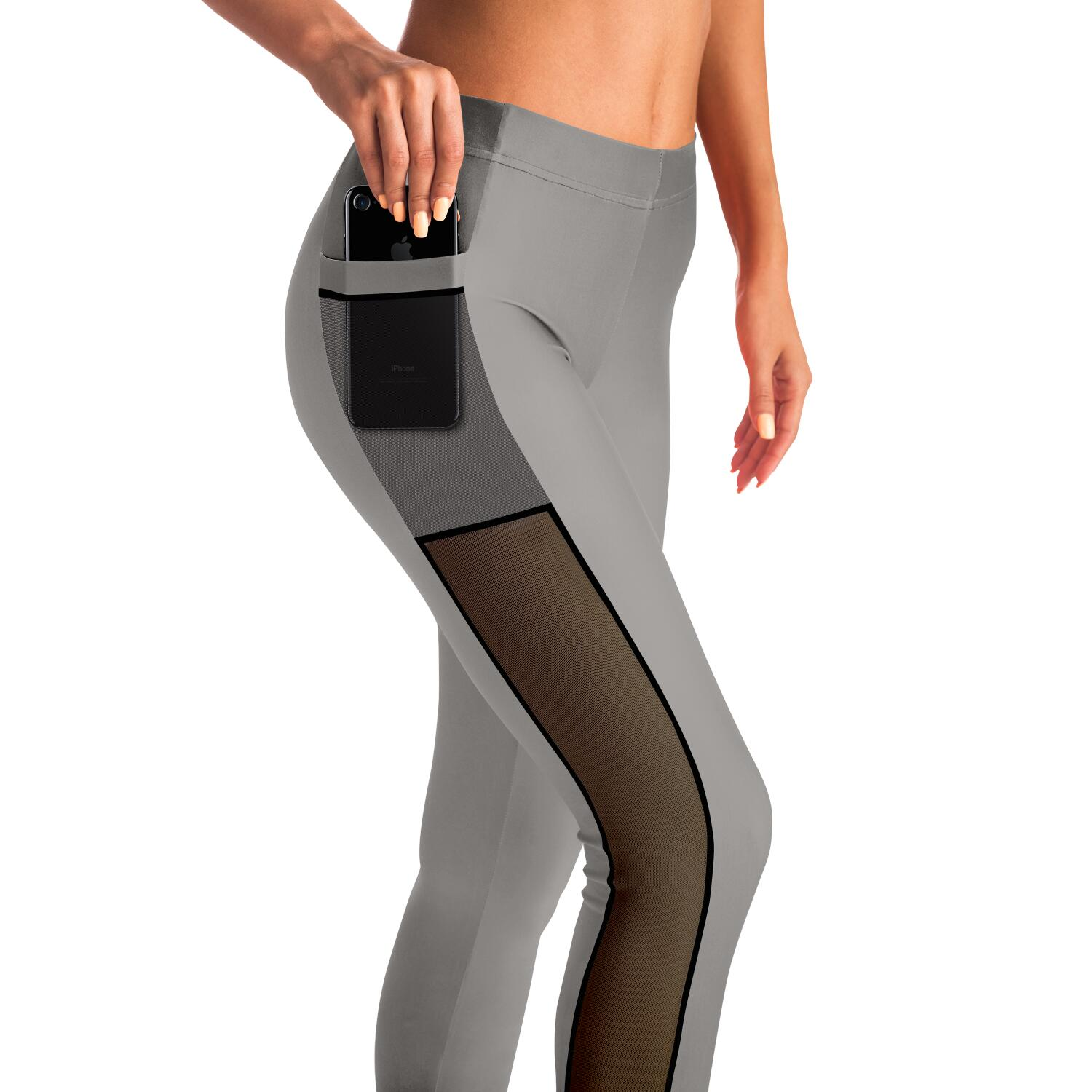 Taupe Mesh Panel Leggings