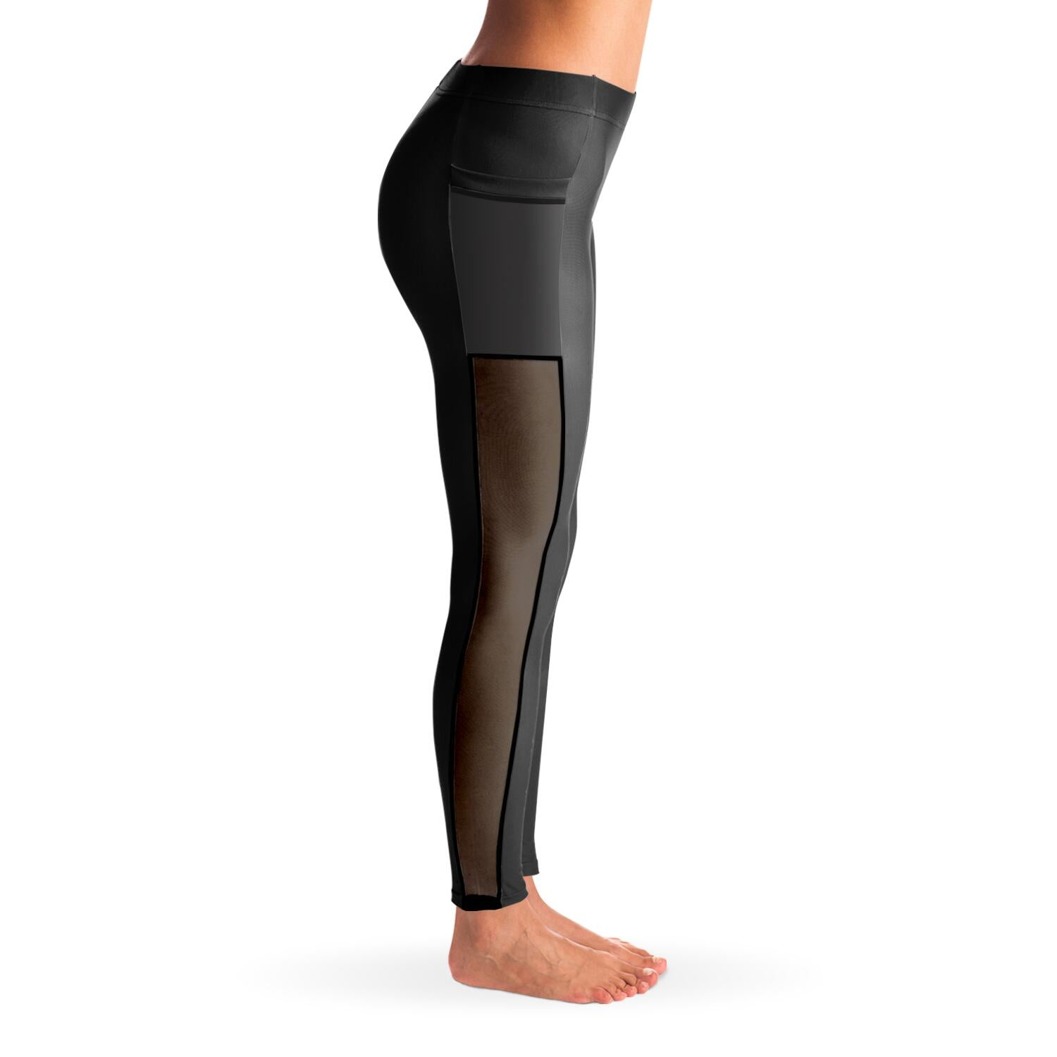 Essential Charcoal Gray Mesh Panel Leggings
