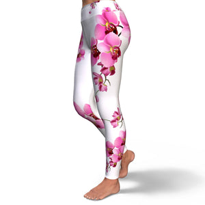 Orchid Print Yoga Pants in White