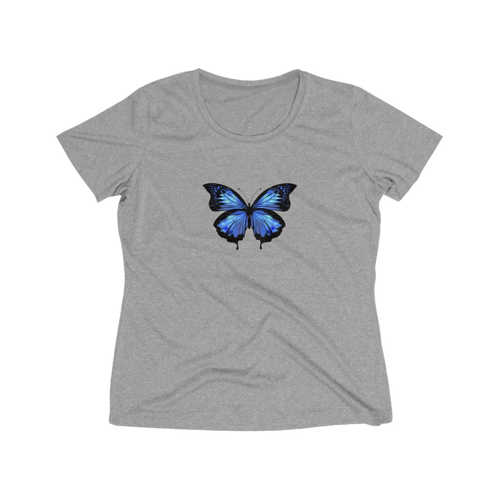 Blue Butterfly Print Women's Heather Wicking Tee