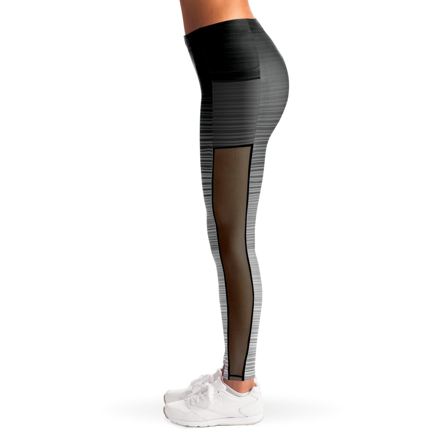 Black and Gray Stripe Mesh Panel Leggings