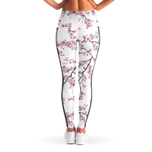 Cherry Blossom Mesh Panel Leggings in White
