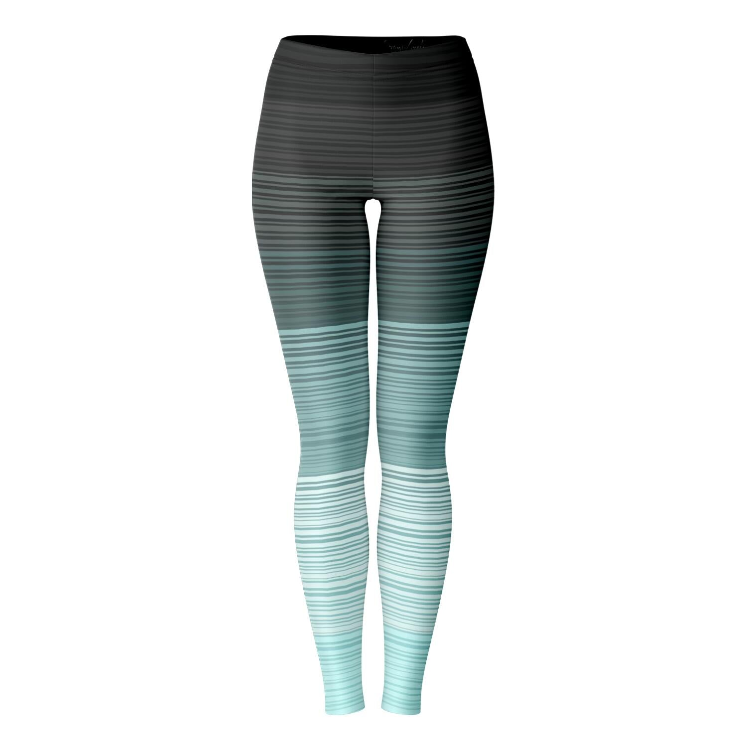 Turquoise and Gray Stripe Leggings