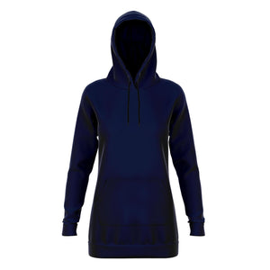 Navy Blue Longline Athletic Fitted Hoodie