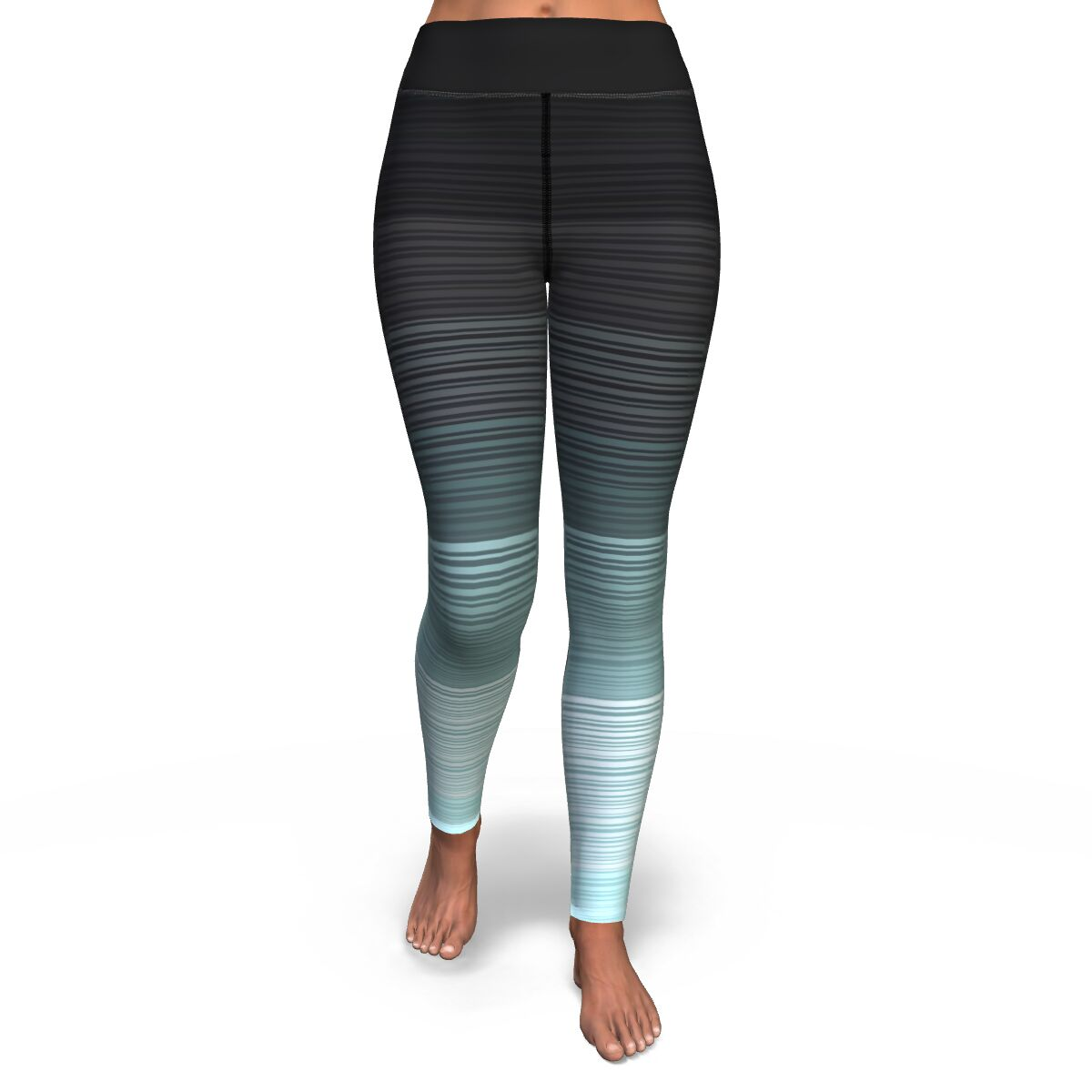 Turquoise and Gray Stripe Yoga Pants
