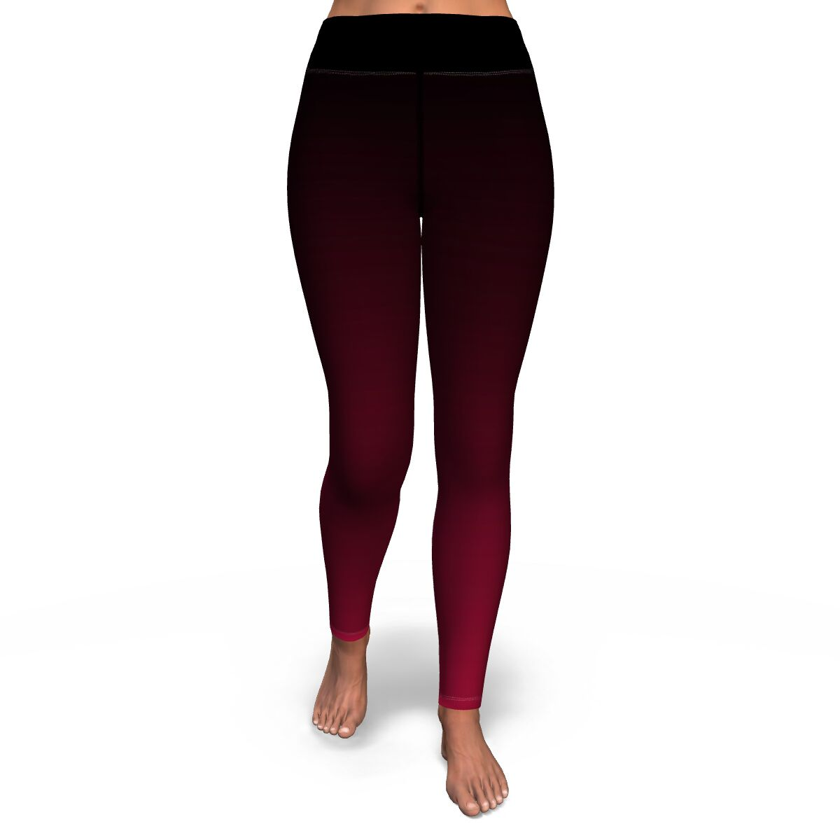 Black to Red Ombre Yoga Pants