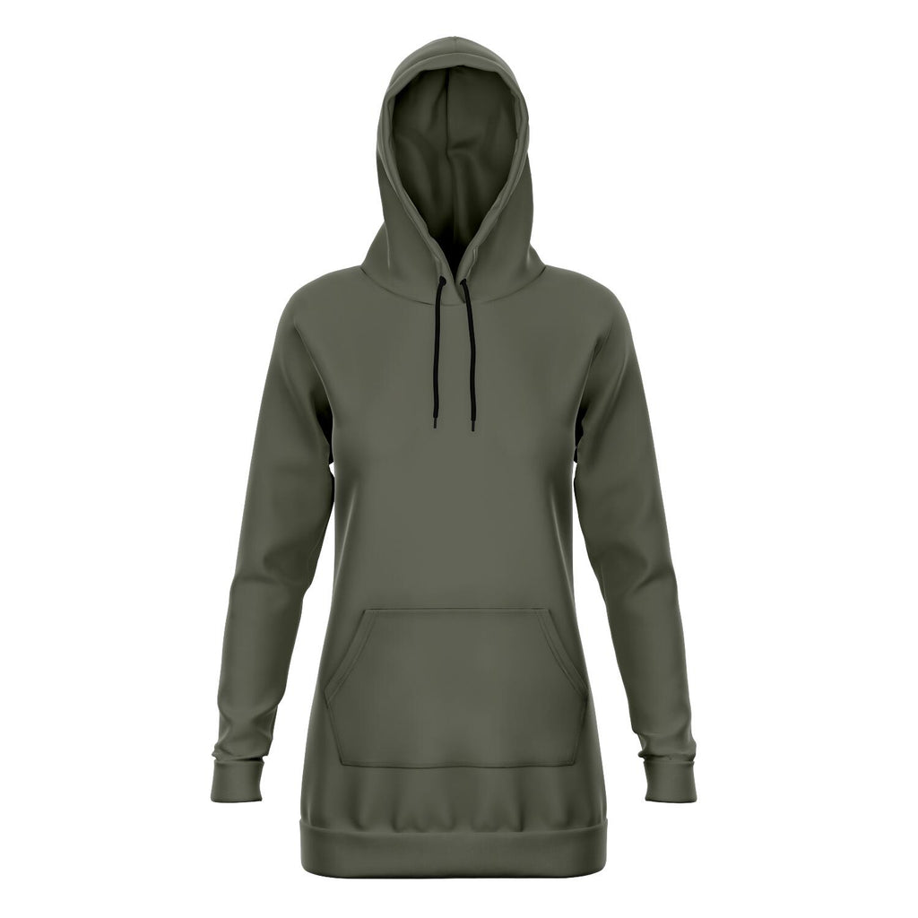 Olive Green Longline Athletic Hoodie
