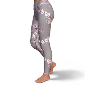 Cherry Blossom Yoga Pants in Gray
