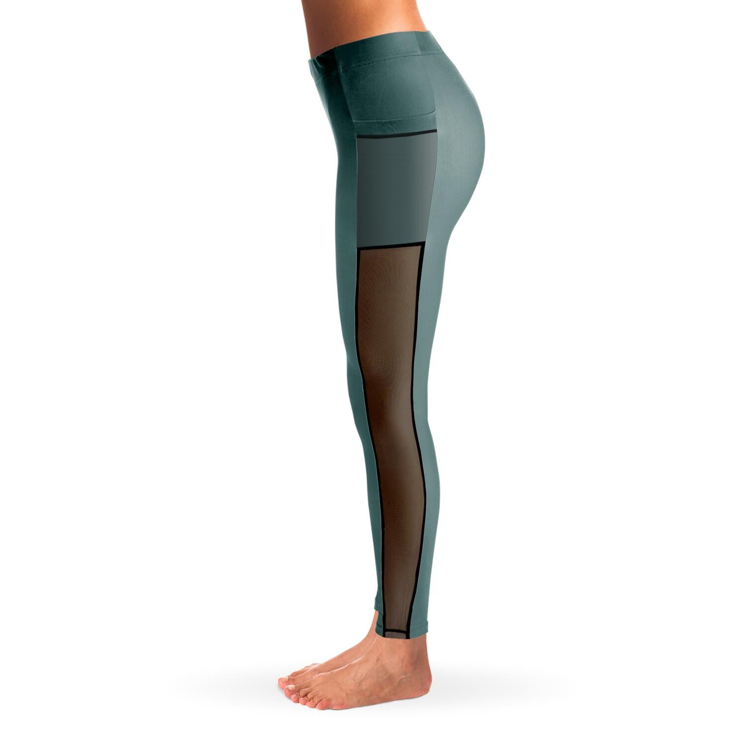 Seafoam Green Mesh Panel Leggings
