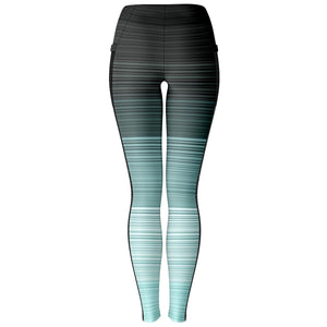 Turquoise and Gray Stripe Mesh Panel Leggings