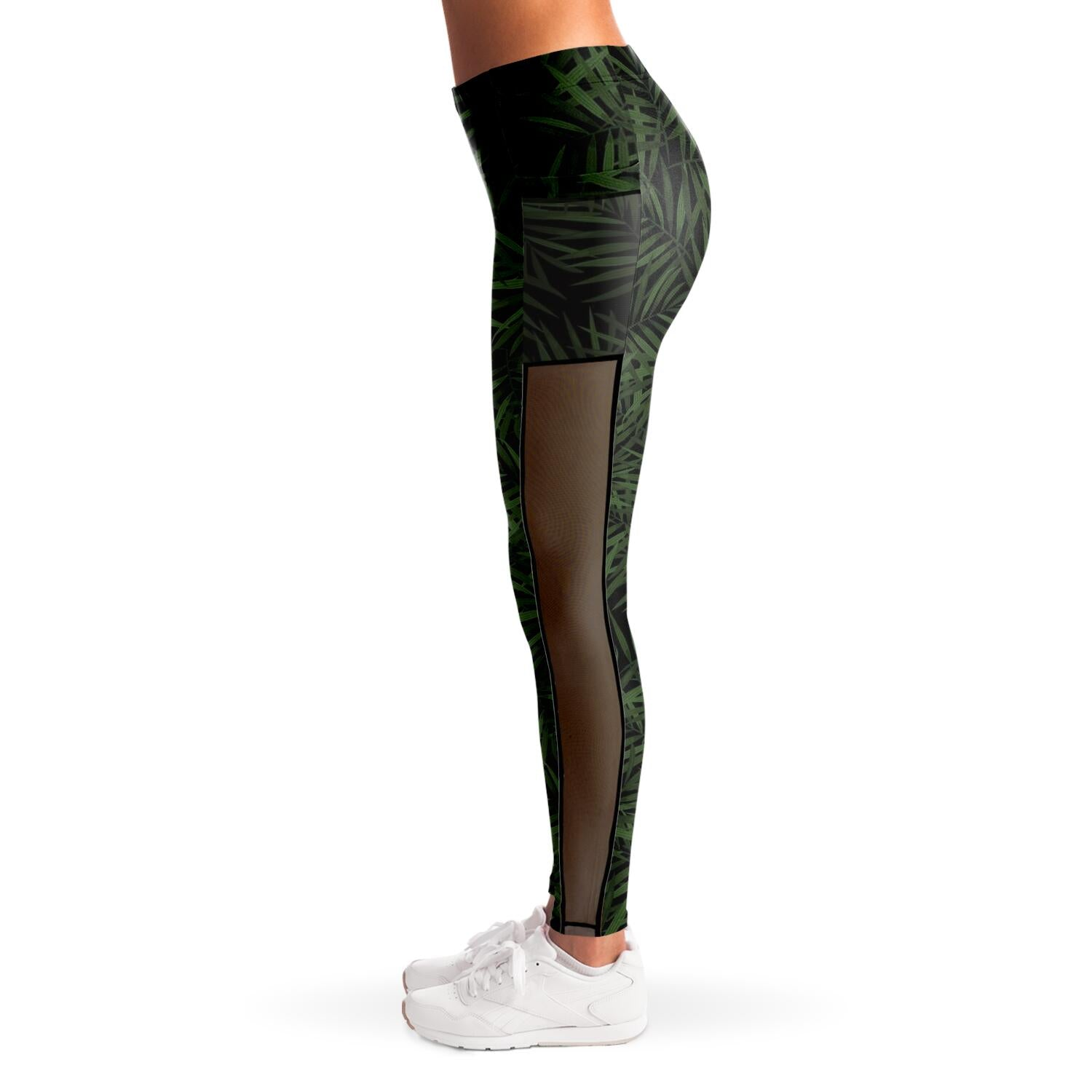 Palm Leaf print Mesh Panel Leggings