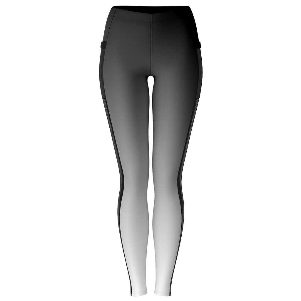 Black to White Ombre Mesh Panel Leggings