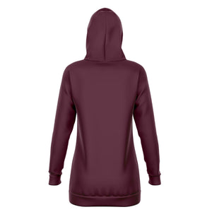 Berry Red Longline Athletic Fitted Hoodie