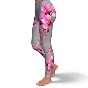 Orchid Print Yoga Pants in Gray
