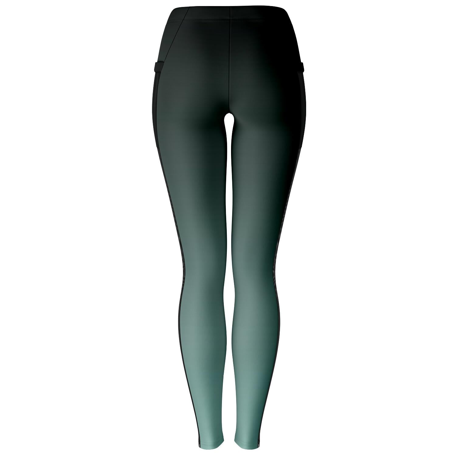 Black to Turquoise Ombre Mesh Panel Leggings