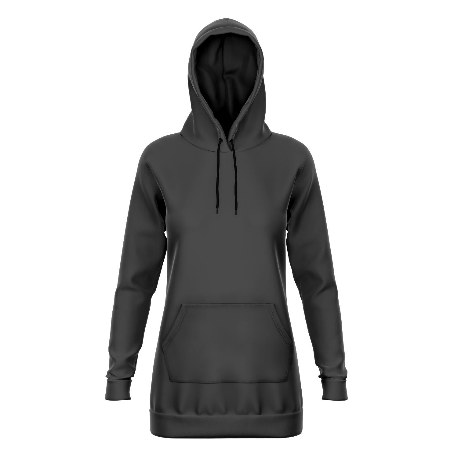 Charcoal Gray Longline Athletic Fitted Hoodie