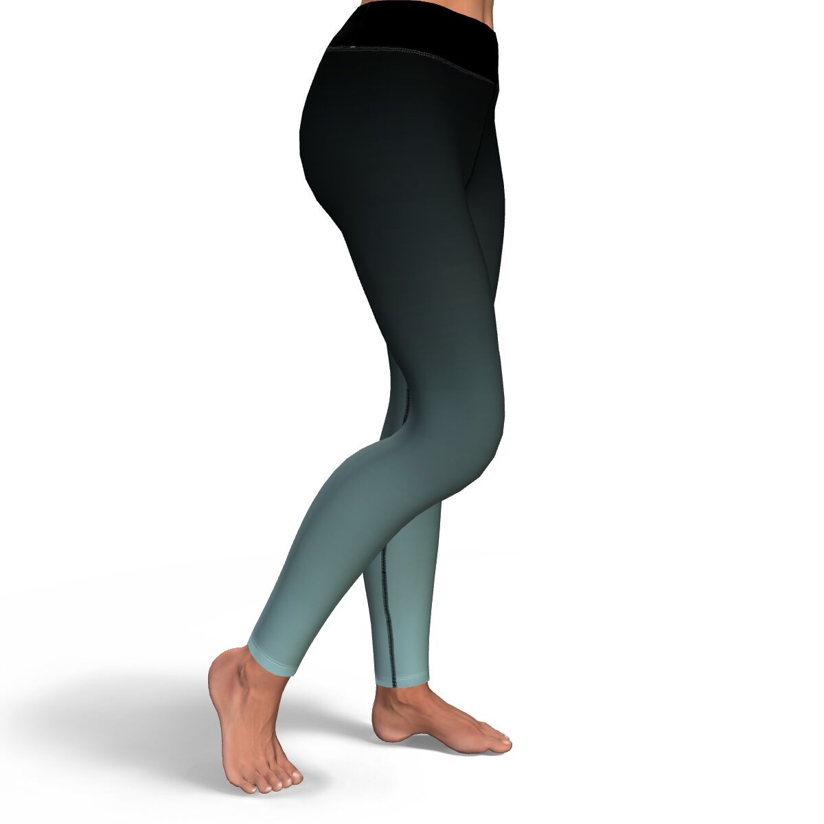 Black to Turquoise Ombre Yoga Pants