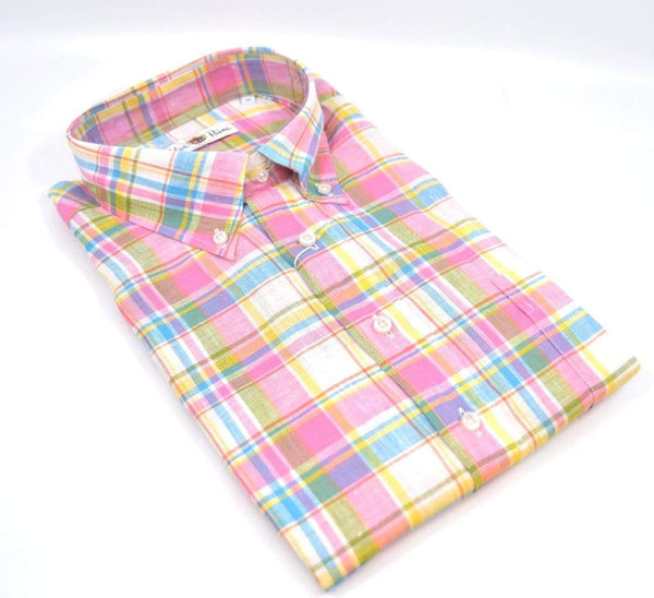 Alan Paine Men's Shirts Beaford Button Down Shirt - Pink Plaid