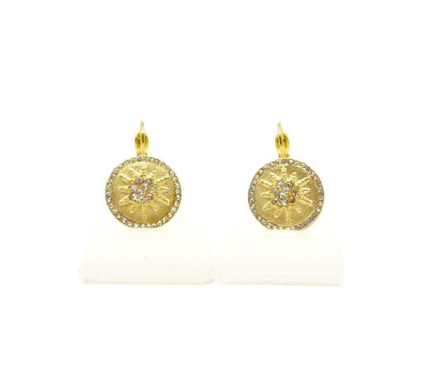 Be-Je Earrings BE-JE Gold Round Earring w/Pave Starburst