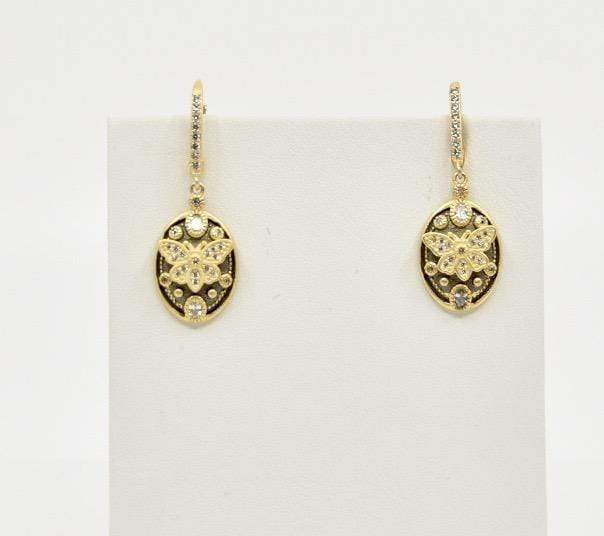 Be-Je Earrings Be-Je Gold with Black Eaerring with Center Butterfly