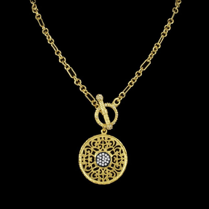 Be-Je Necklaces Round Pendant W/ Black & Pave Center