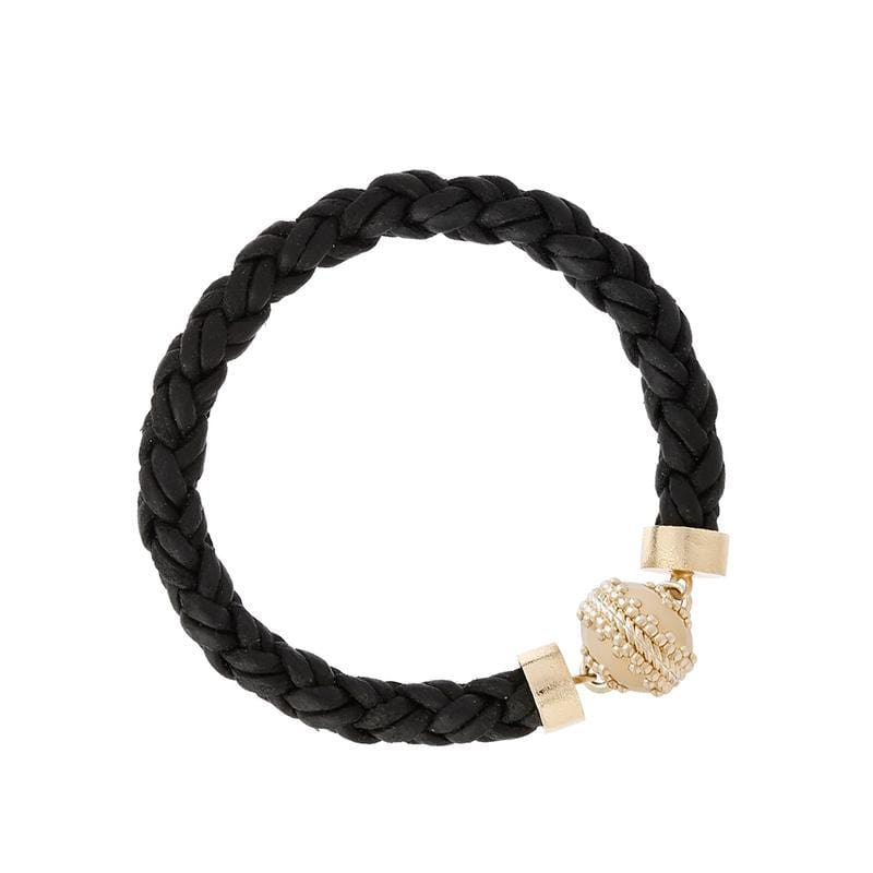 Clara Williams Bracelets Black Bolo Leather Bracelet