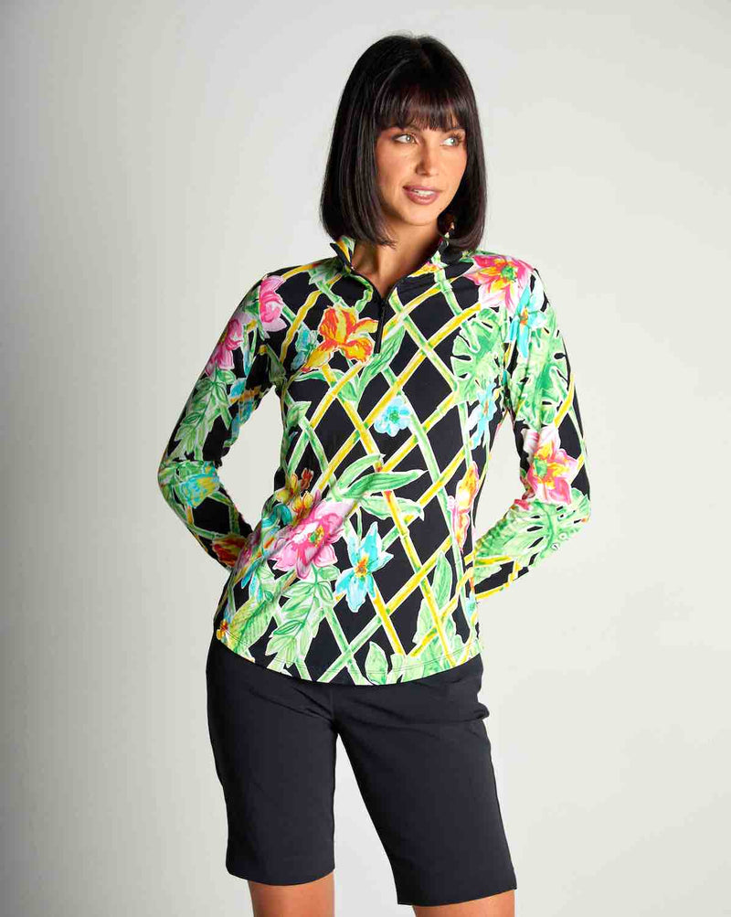 Gottex Women's Shirts & Tops Black Veranda / XS Gottex Summer Zip Mock Sun Shirts