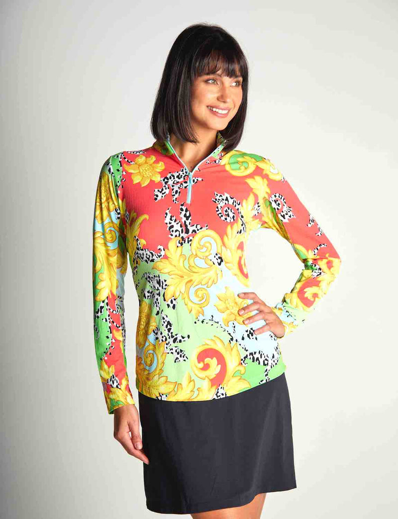 Gottex Women's Shirts & Tops Multi Venetian / XS Gottex Summer Zip Mock Sun Shirts